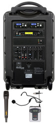 Galaxy Audio GAL10COMBOCD TV10 AC/Battery-Powered 150 Watt Portable Sound System - Basic System + CD + 1 Handheld System + 1 Fitness Headset Mic System with Beltpack