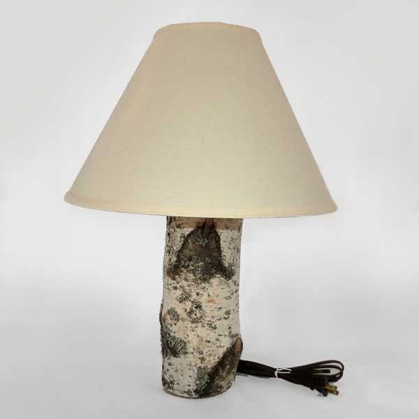 Birch log table lamp rustic workbench image 1 mozeypictures Gallery