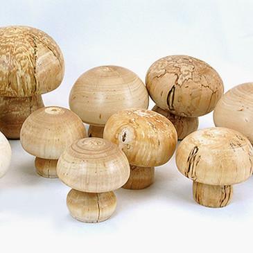 Wooden Mushrooms, hand-turned