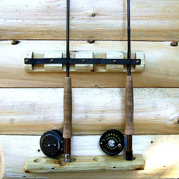 Cedar Log Fishing Rod Racks