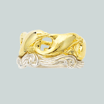 dolphin and waves wedding ring with white gold waves - Dolphin Wedding Rings