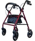 4 Wheel Steel Rollator - Red