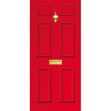 NEW RANGE: Door Decal with Letterbox and Knocker - Red