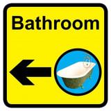 Bathroom sign with left arrow - 300mm x 300mm