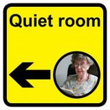 Quiet Room sign with left arrow - 300mm x 300mm