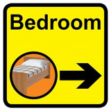 Bedroom sign with right arrow - 300mm x 300mm