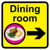 Dining Room sign with right arrow - 300mm x 300mm