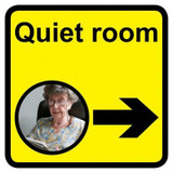 Quiet Room sign with right arrow - 300mm x 300mm