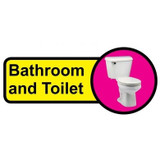 Bathroom and Toilet sign - 480mm x 210mm