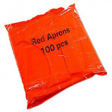 Poly Aprons, Red - Pack 100