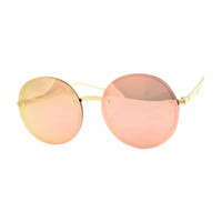 Round Rimless Mirrored Sunglass-Rose