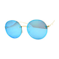 Round Rimless Mirrored Sunglass- Blue