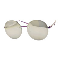 Round Rimless Mirrored Sunglass- Silver
