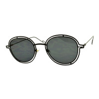 Sara Round Metal Sunglass-Black