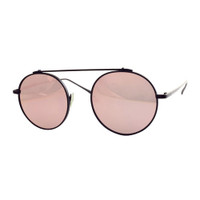 "Jenner ""Rounded"" Mirrored Aviator-Black/Pink"