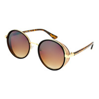 Crystal Round Sunglass-Brown/Rose Sparkle