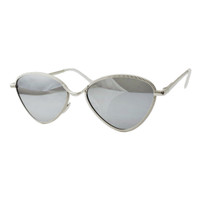 Rylie Metal Cat Eye-Silver/Silver Mirror Lens