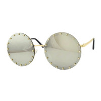 Ruby Embellished Round Sunglass-Silver