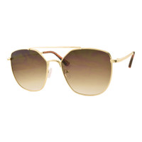 Allie Square Sunglass-Gold/Brown Lens