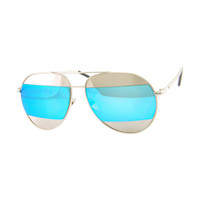 Lisa Two Toned Mirrored Aviator- Silver/Blue