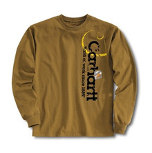 Carhartt Boys Brown Long Sleeve Logo T-Shirt
