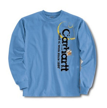Carhartt Boys Pacific Blue Long Sleeve Logo T-Shirt