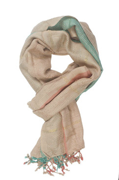 In-Sattva Colors - Vertical and Horizontal Stripe Rich Color Block Scarf Stole - Beige