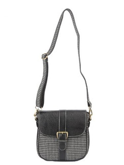 Ivory Tag Black Leather & Houndstooth Crossbody Bag Front