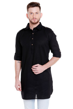 In-Sattva Men's Pullover Pathani Rollup Sleeve Kurta Tunic with Shoulder Strap Black
