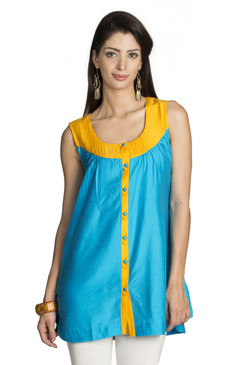 MOHR Women's Blue Sleeveless Tunic Shirt with Pintuck Yoke Ì´Ì_ÌÎ̝ÌÎÌ¥ Front
