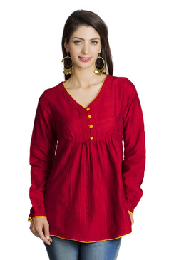 MOHR Women's Red Tunic Shirt with V-Neck and Full Length Sleeves Ì´Ì_ÌÎ̝ÌÎÌ¥ Front