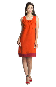 MOHR Women's Dark Orange Sleeveless Dress with Pleated Neckline åäÌÝÌÕ Front