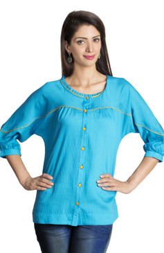 MOHR Women's Blue Tunic Shirt with Three-Quarter Sleeves Ì´Ì_ÌÎ̝ÌÎÌ¥ Front