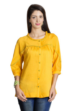 MOHR Women's Dark Yellow Tunic Shirt with Three-Quarter  Sleeves Ì´Ì_ÌÎ̝ÌÎÌ¥ Front