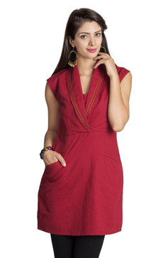 MOHR Women's Dark Red Tunic with Shawl Collar Ì´Ì_ÌÎ̝ÌÎÌ¥ Front
