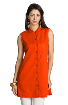 MOHR Women's Dark Orange Tunic Shirt with Mandarin Collar Ì´Ì_ÌÎ̝ÌÎÌ¥ Front