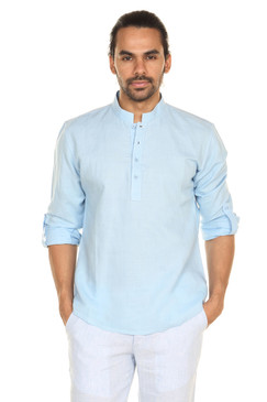 Men's Indian Light blue Pullover Kurta Tunic With Rolled Sleeves