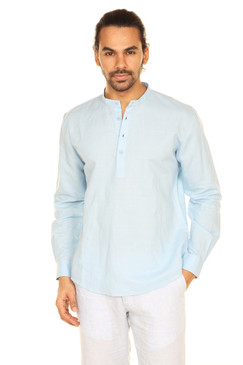 A.N.D. by Anita Dongre Mens Pullover Tunic with Mandarin Collar and Long Sleeves - Sky Blue Front