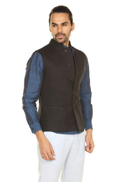 A.N.D. by Anita Dongre Button Down Vest with Mandarin Collar åäÌÝÌÕ Black Front
