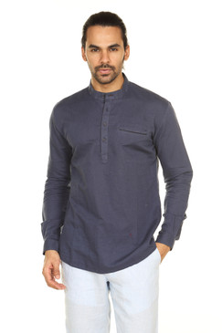 Pullover Henley Style Kurta Tunic with Mandarin Collar and Pocket