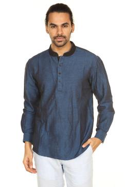 A.N.D. by Anita Dongre Pullover Tunic with Embellished Mandarin Collar ÌÎå«ÌÎ_ÌÎÌ_ÌÎåÌÎÌ_ÌÎå´ Dark Blue Front