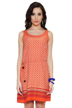 Global Desi Womens Boho Printed Dress with Waist Tie - Front