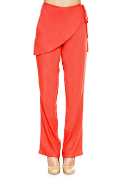 Global Desi Womens Boho Front Wrap Pants - Front