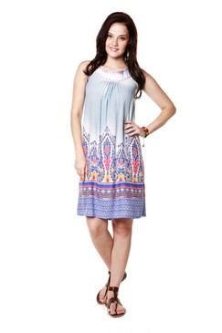 Global Desi Womens Boho Abstract Print Sleeveless Dress - Front