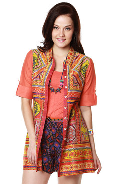 Global Desi Womens Boho Collared Button Down Printed Tunic - Front