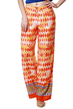 Global Desi Womens Boho Diamond Print Pants - Front