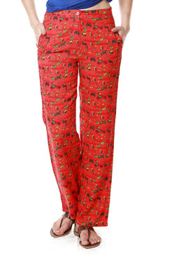 Global Desi Womens Boho Printed Pants - Front