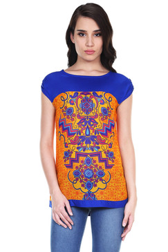 Global Desi Womens Boho Cap-Sleeve Printed Top - Front