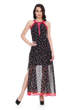 Global Desi Womens Boho Printed Sleeveless Maxi Dress - Front