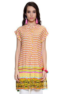 Global Desi Womens Boho Abstract Print Button Down Tunic - Front